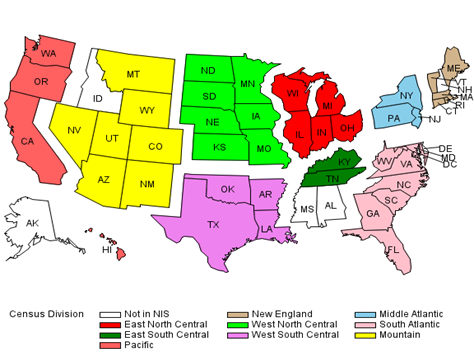 2014 map of U.S. showing census divisions of the HCUP NIS